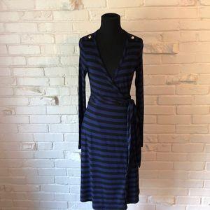 Banana Republic Black and Blue Wrap Dress